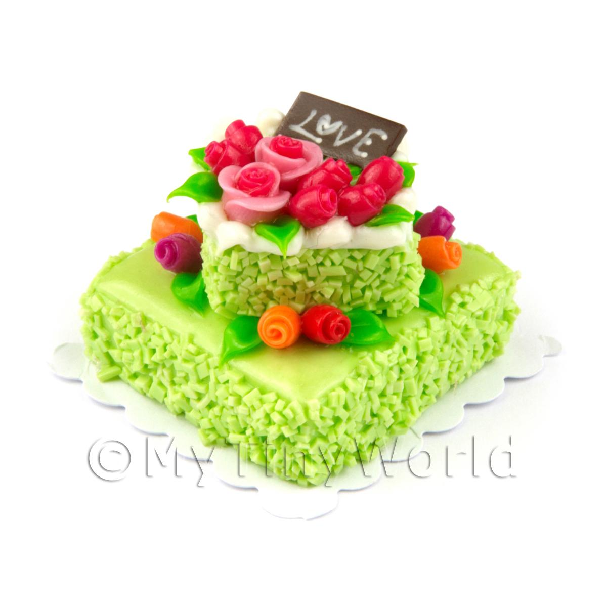 Dolls House Miniature Large Handmade Two Tier Green Iced Cake
