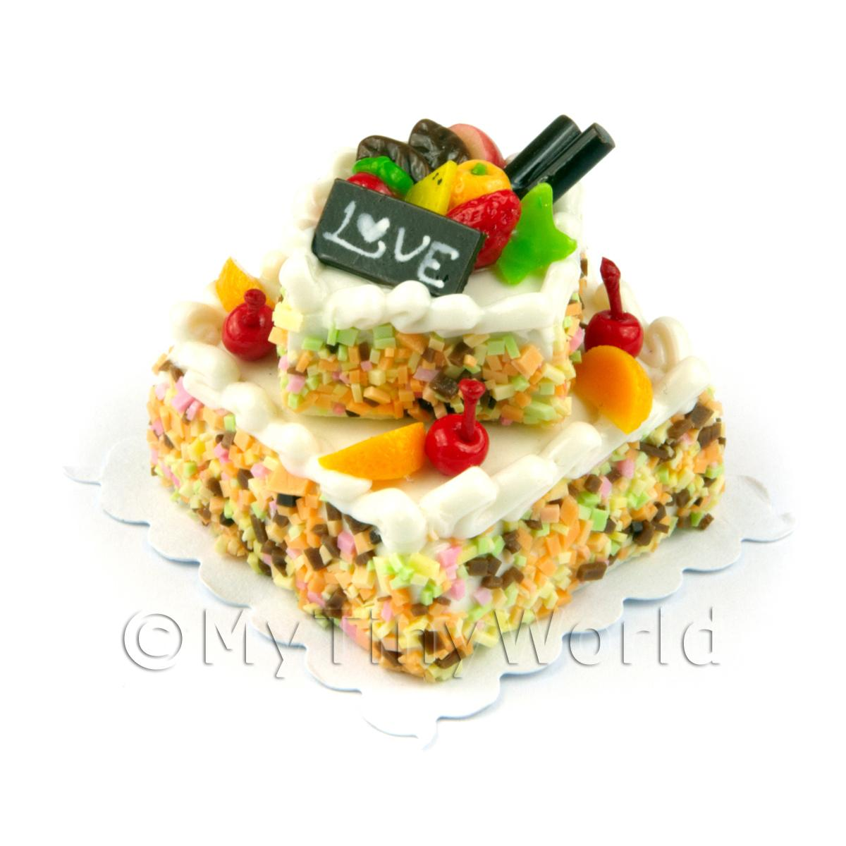 Miniature Large Handmade Two Tier White Iced Fruit Cake