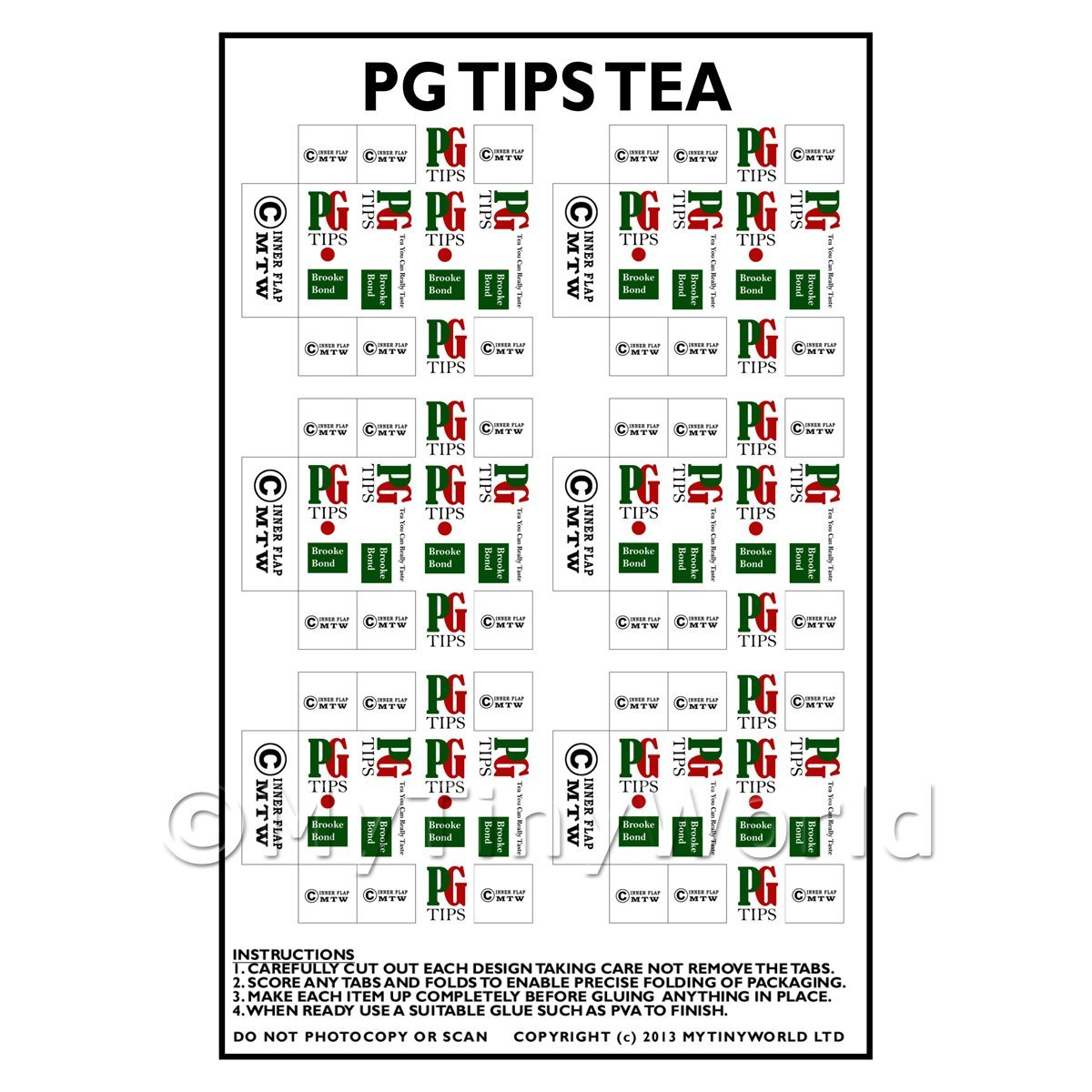 Dolls House Miniature Packaging Sheet of 6 PG Tips Tea