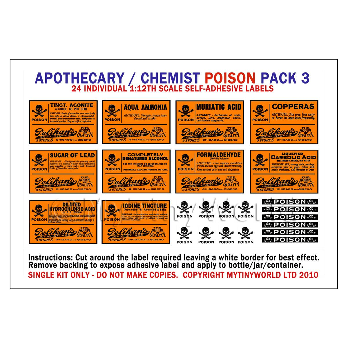 Dolls House Miniature Orange Poison Label Pack 3