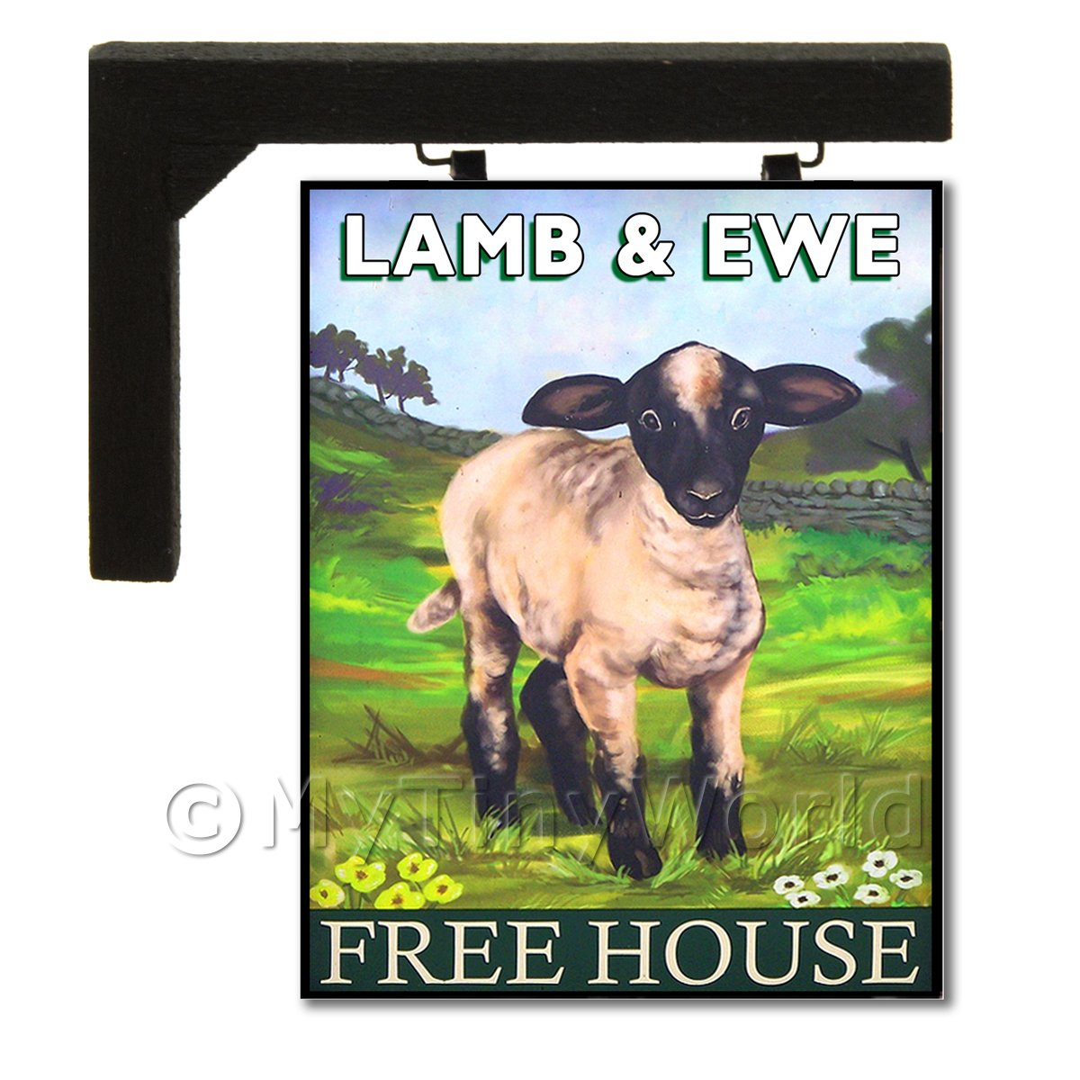 Wall Mounted Dolls House Pub / Tavern Sign - Ewe And Lamb