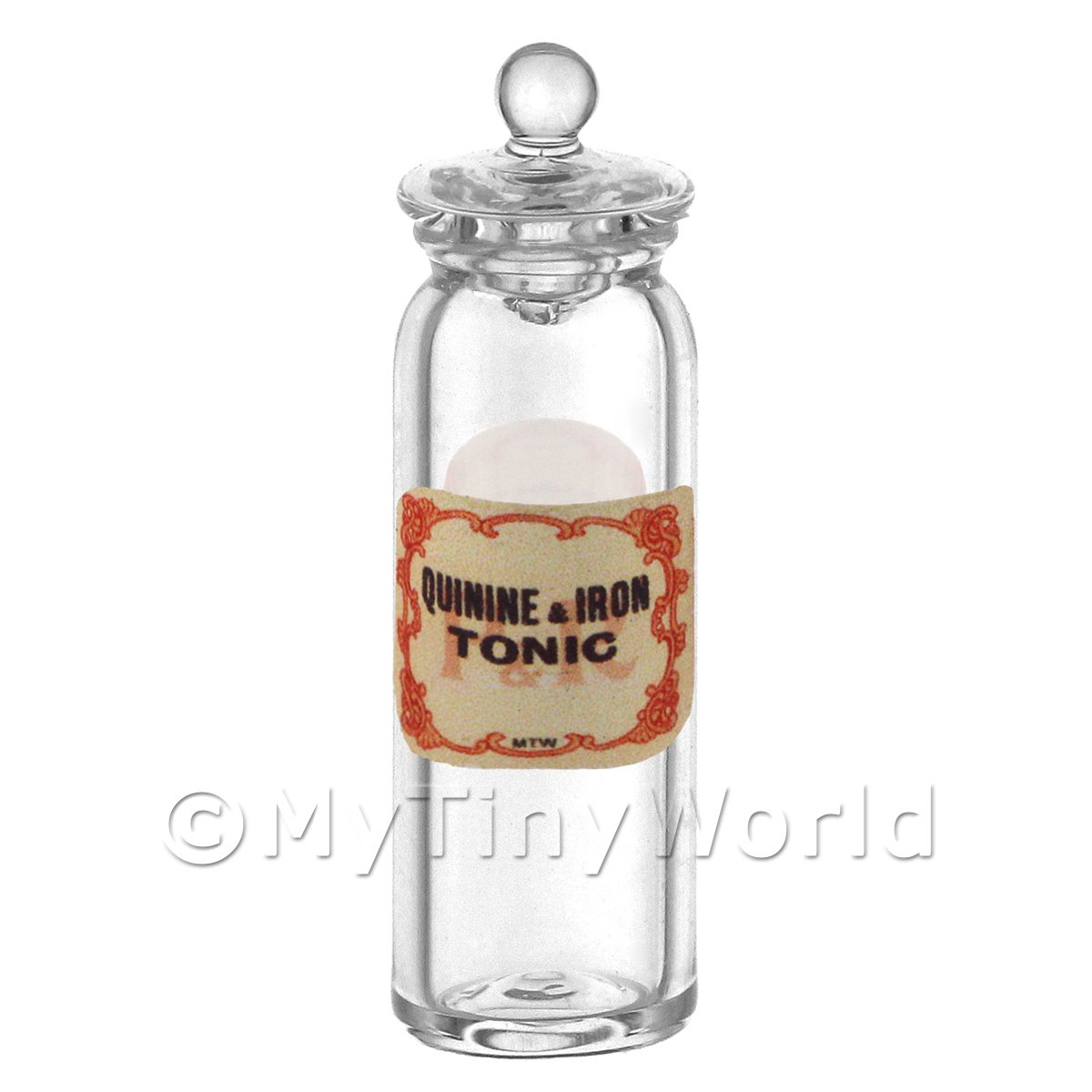 Dolls House Miniature Quinine and Iron Tonic Glass Apothecary Storage Jar
