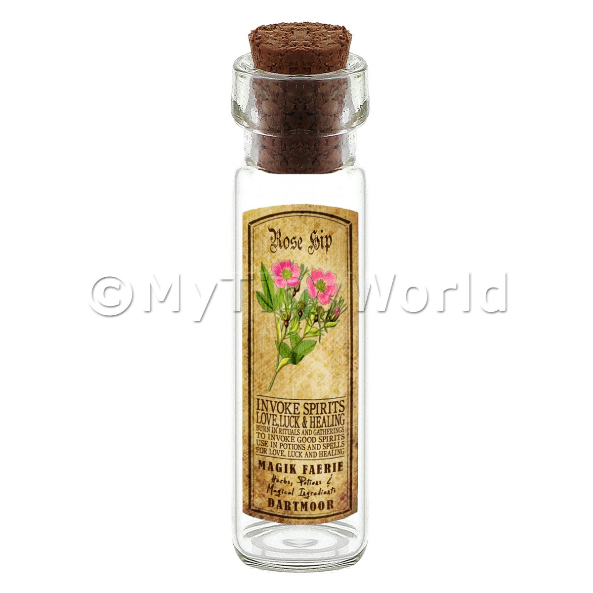 Dolls House Apothecary Rose Hip Herb Long Colour Label And Bottle