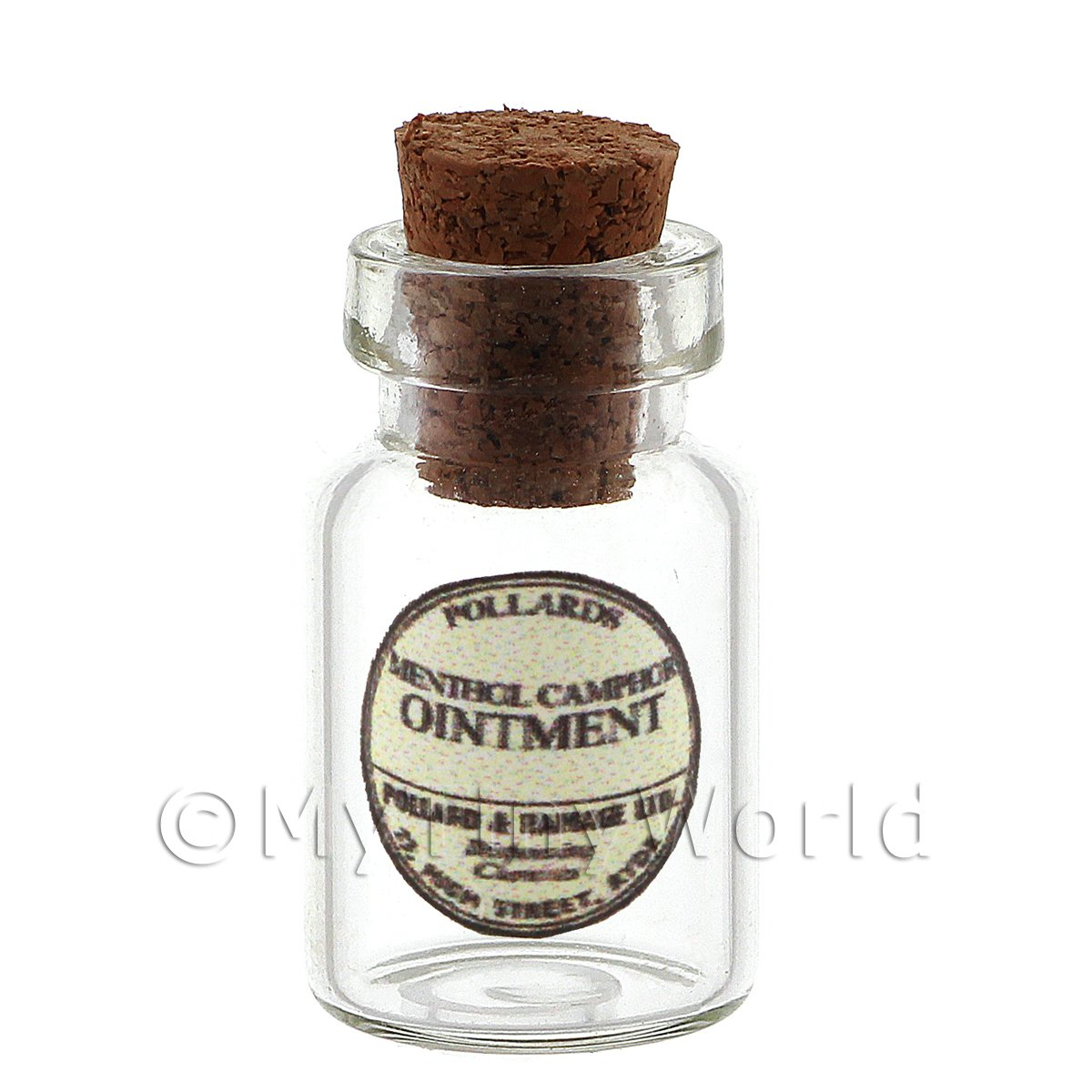Dolls House Miniature Camphor Ointment Glass Apothecary Ointment Jar