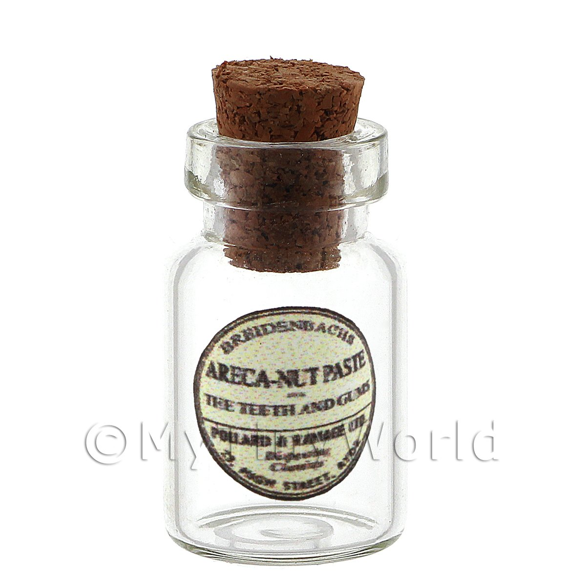 Dolls House Miniature Areca Nut Paste Glass Apothecary Ointment Jar