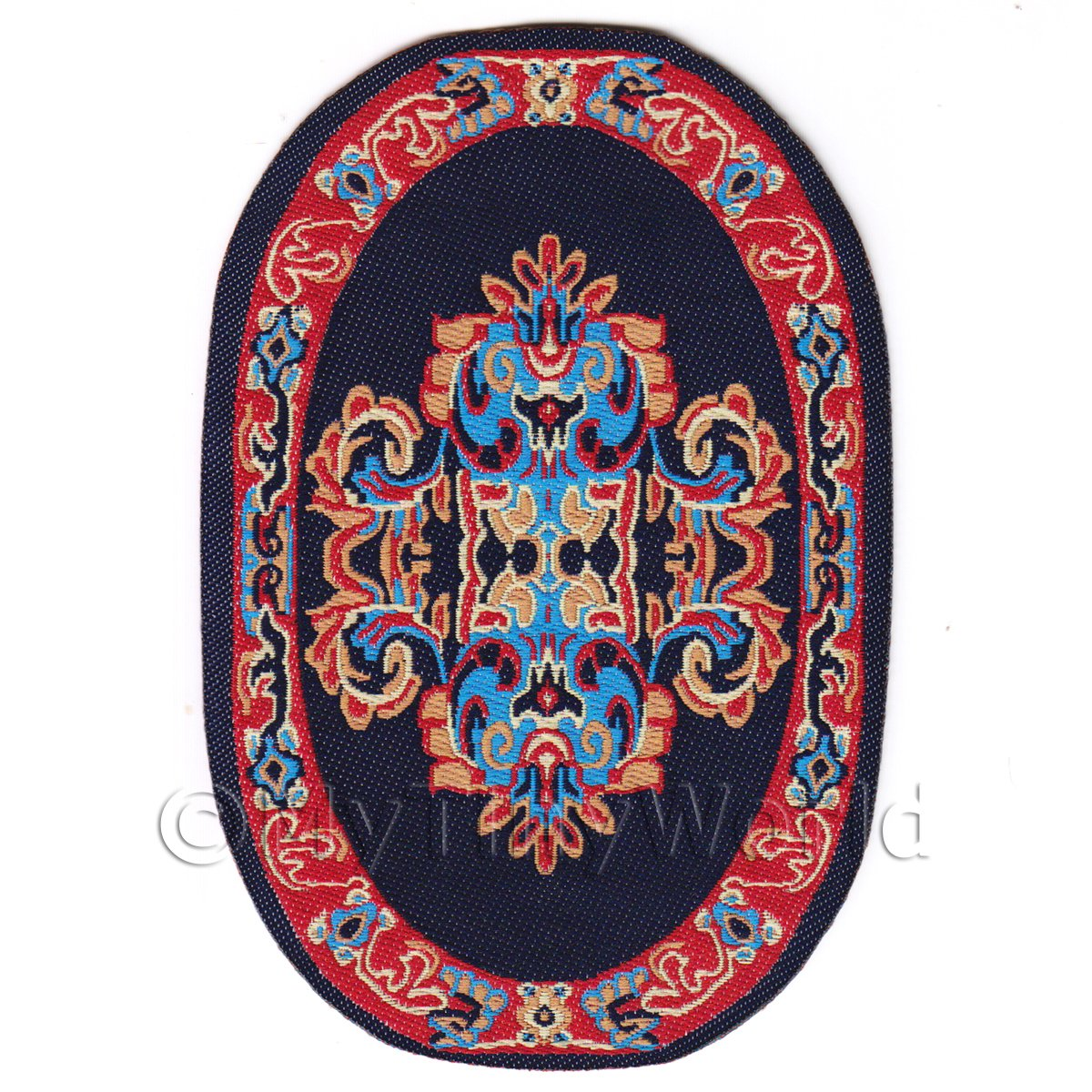Dolls House Miniature Small Oval Victorian Carpet / Rug  (VCNSO03)