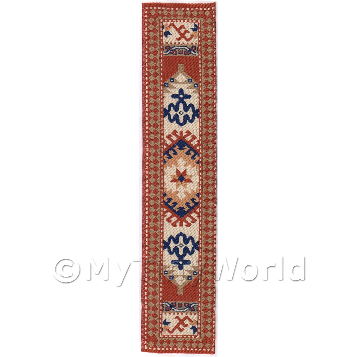 Dolls House Miniature 24cm Woven Turkish Hall Runner (TR045)