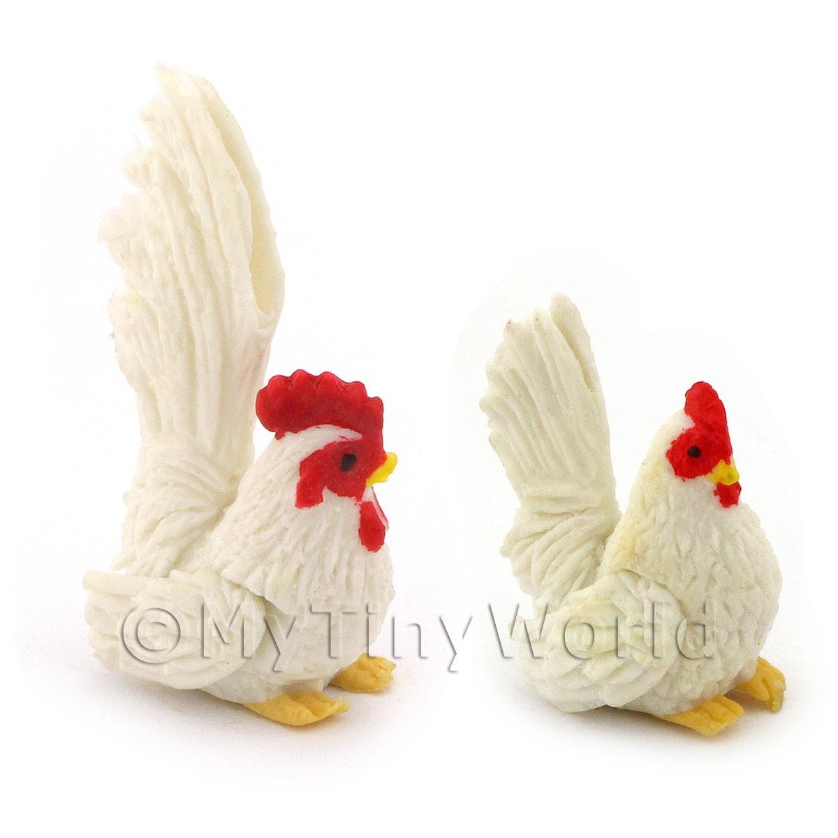 Dolls House Miniature White Hen And Cockerel Set