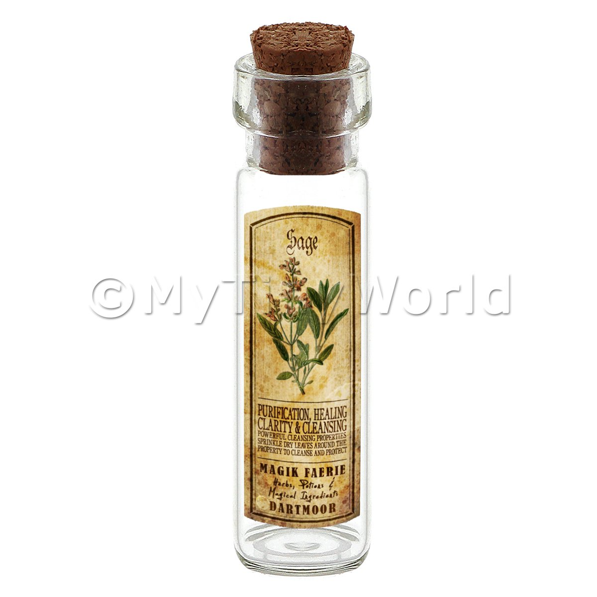Dolls House Apothecary Sage Herb Long Colour Label And Bottle