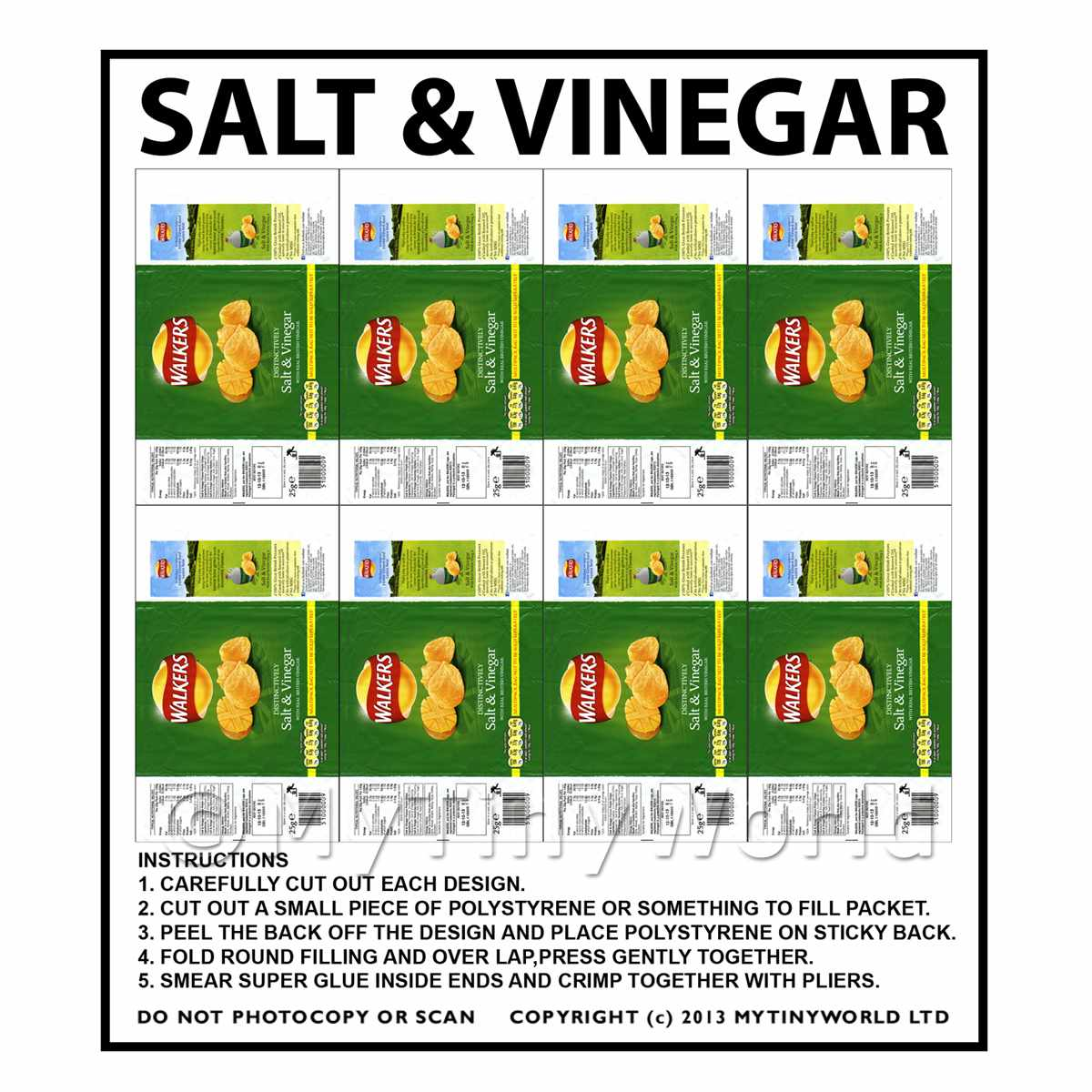 Dolls House Miniature Packaging Sheet of 8 Walkers Salt & Vinegar Crisps