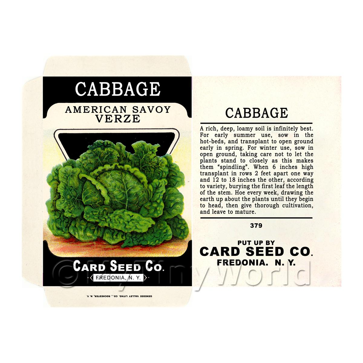 Savoy Cabbage Dolls House Miniature Seed Packet