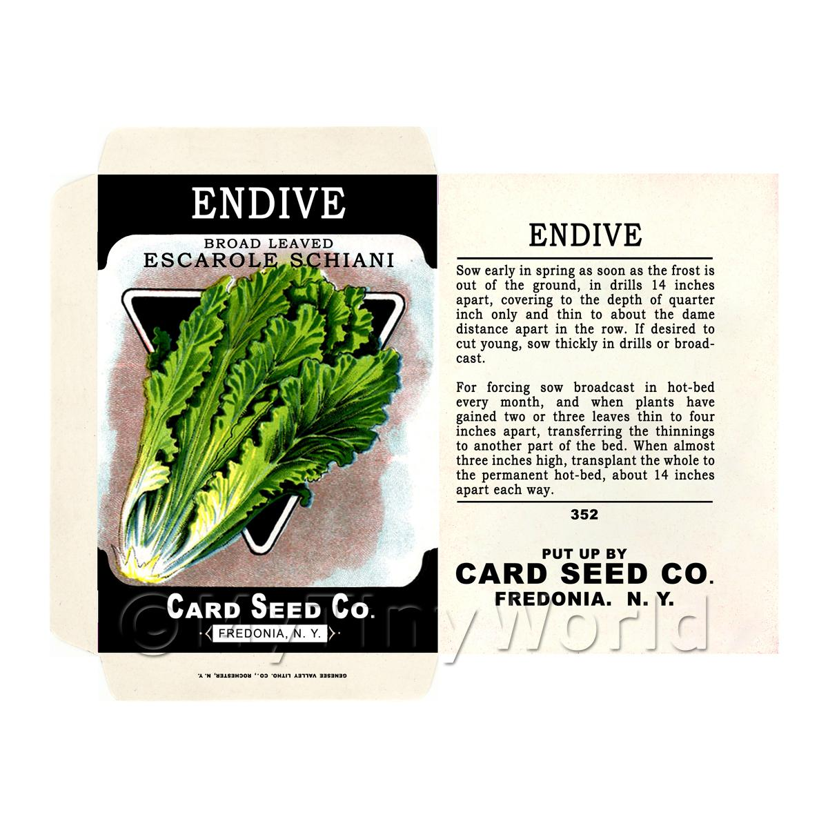 Broad Leaf Endive Dolls House Miniature Seed Packet