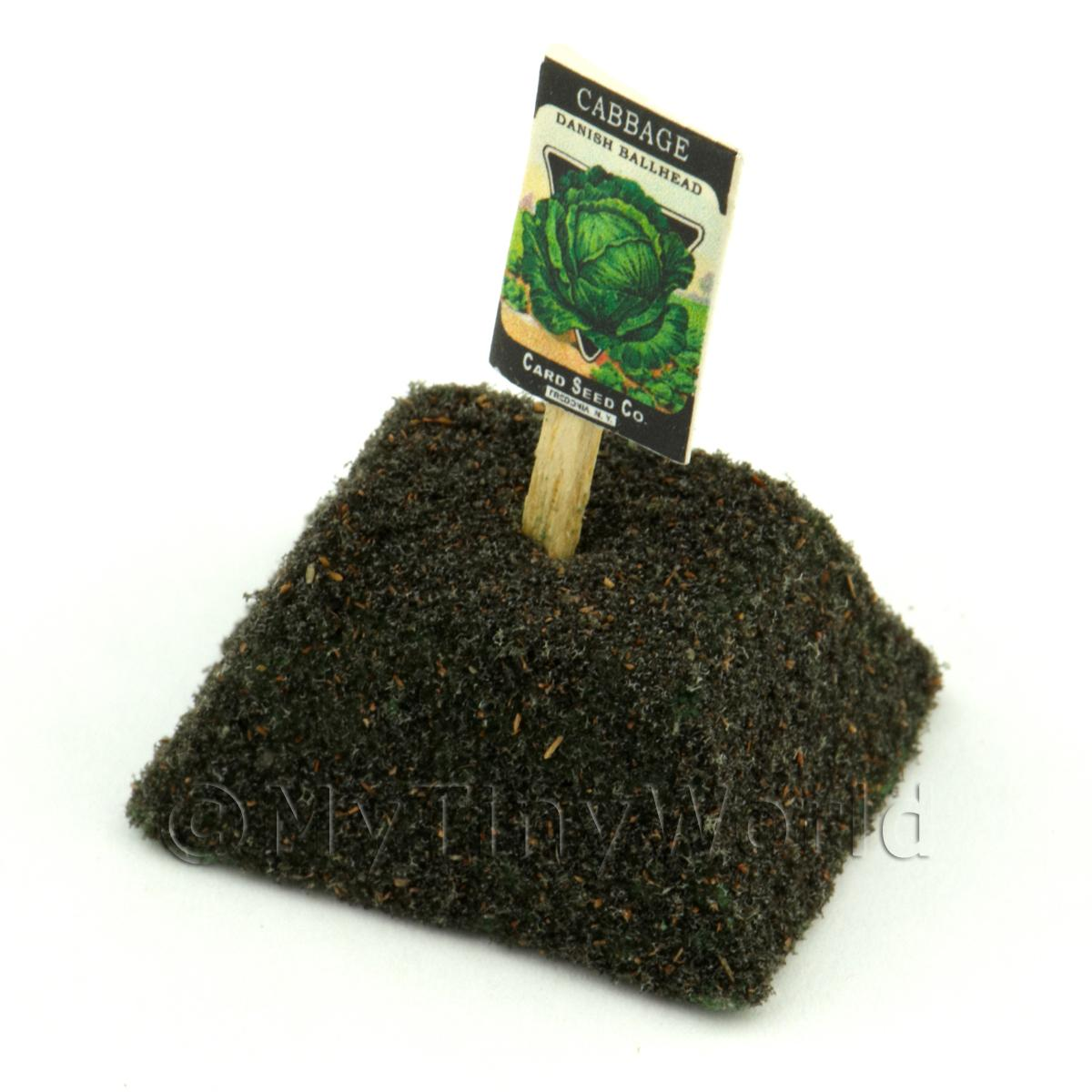 Dolls House Miniature Ballhead Cabbage Seed Packet With A Stick