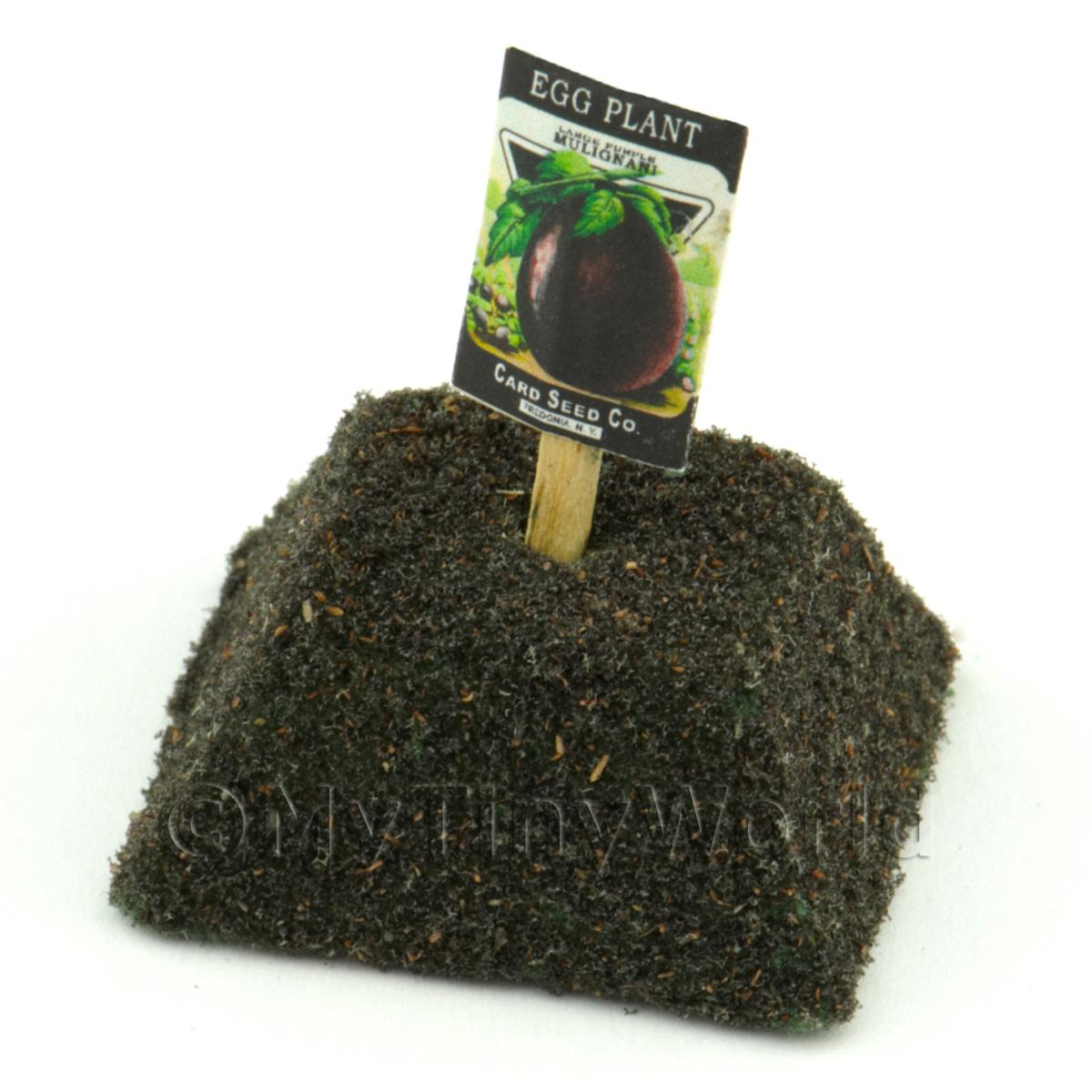 Dolls House Miniaturei Egg Plant / Aubergine Seed Packet With A Stick