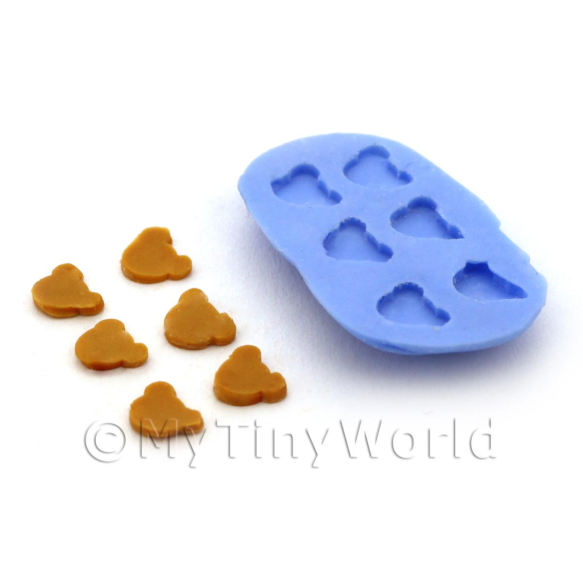 Dolls House Miniature 6 Piece Bear Head Biscuit Silicone Mould