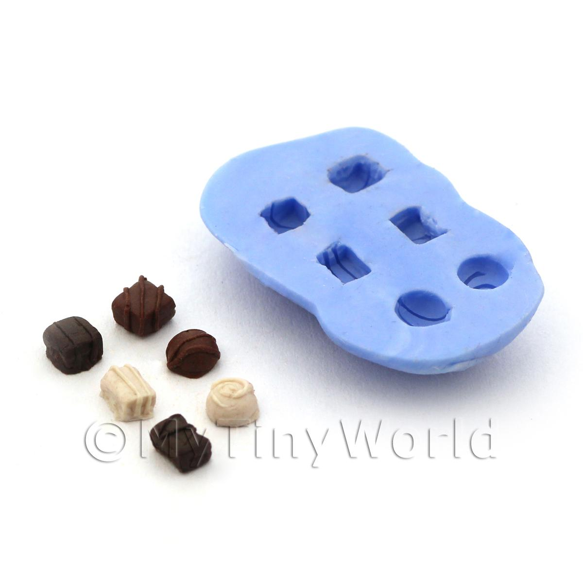 Dolls House Miniature 6 Piece Luxury Swirl Chocolate Silicone Mould