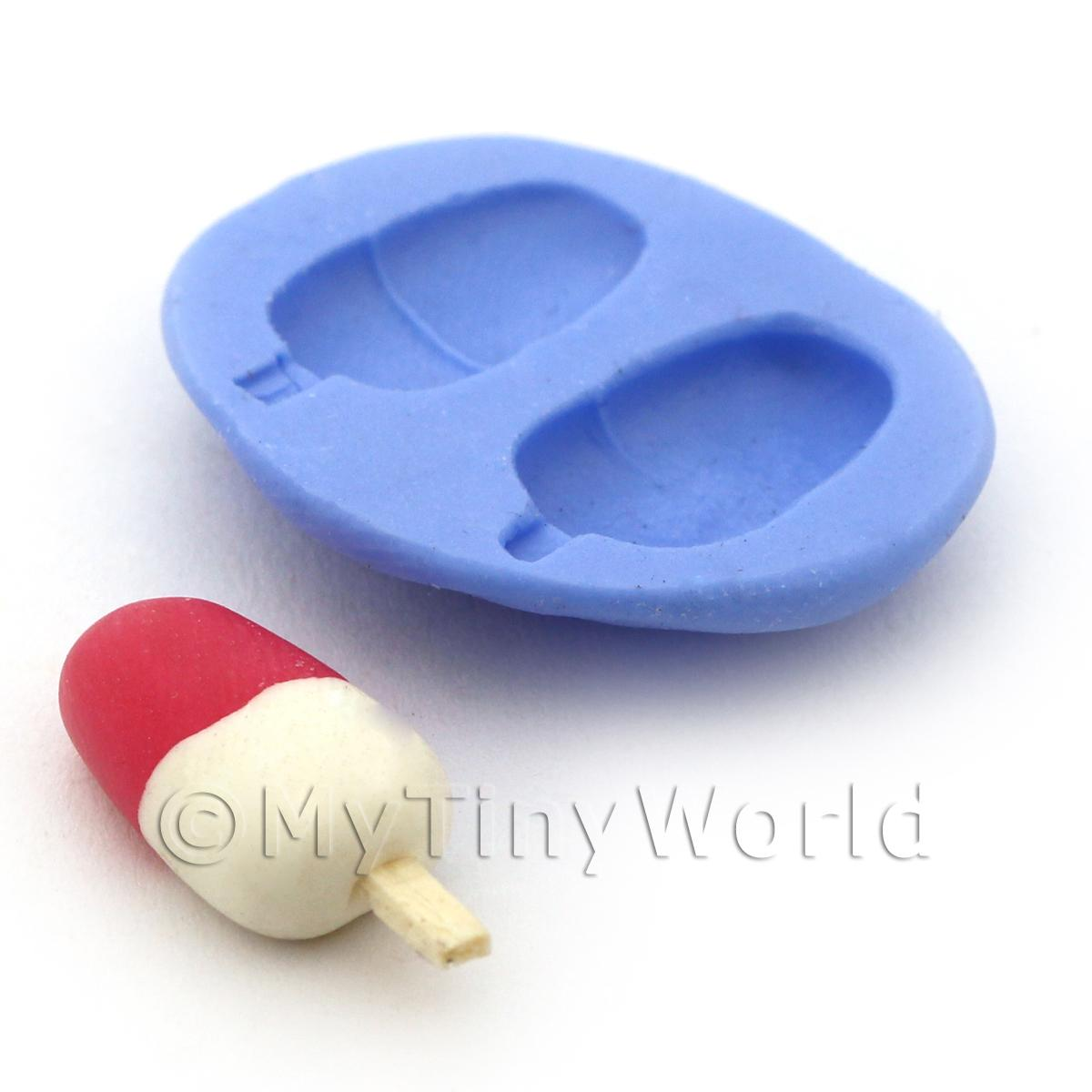 Dolls House Miniature 2 Part Reusable Ice Lolly Silicone Mould