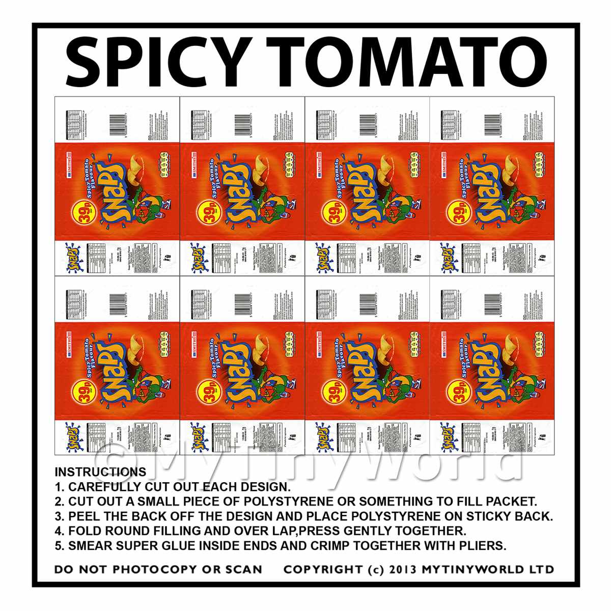 Dolls House Miniature Packaging Sheet of 8 Smiths Snaps Spicy Tomato Crisps
