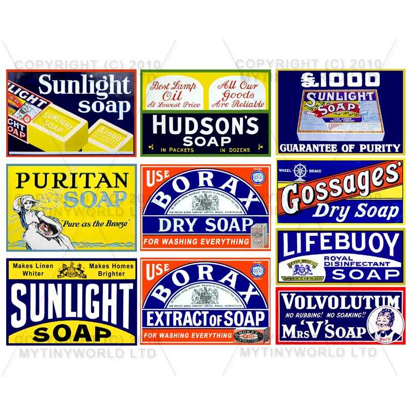 Set of 10 Dolls House Miniature Soap Shop Signs Circa 1890-1920