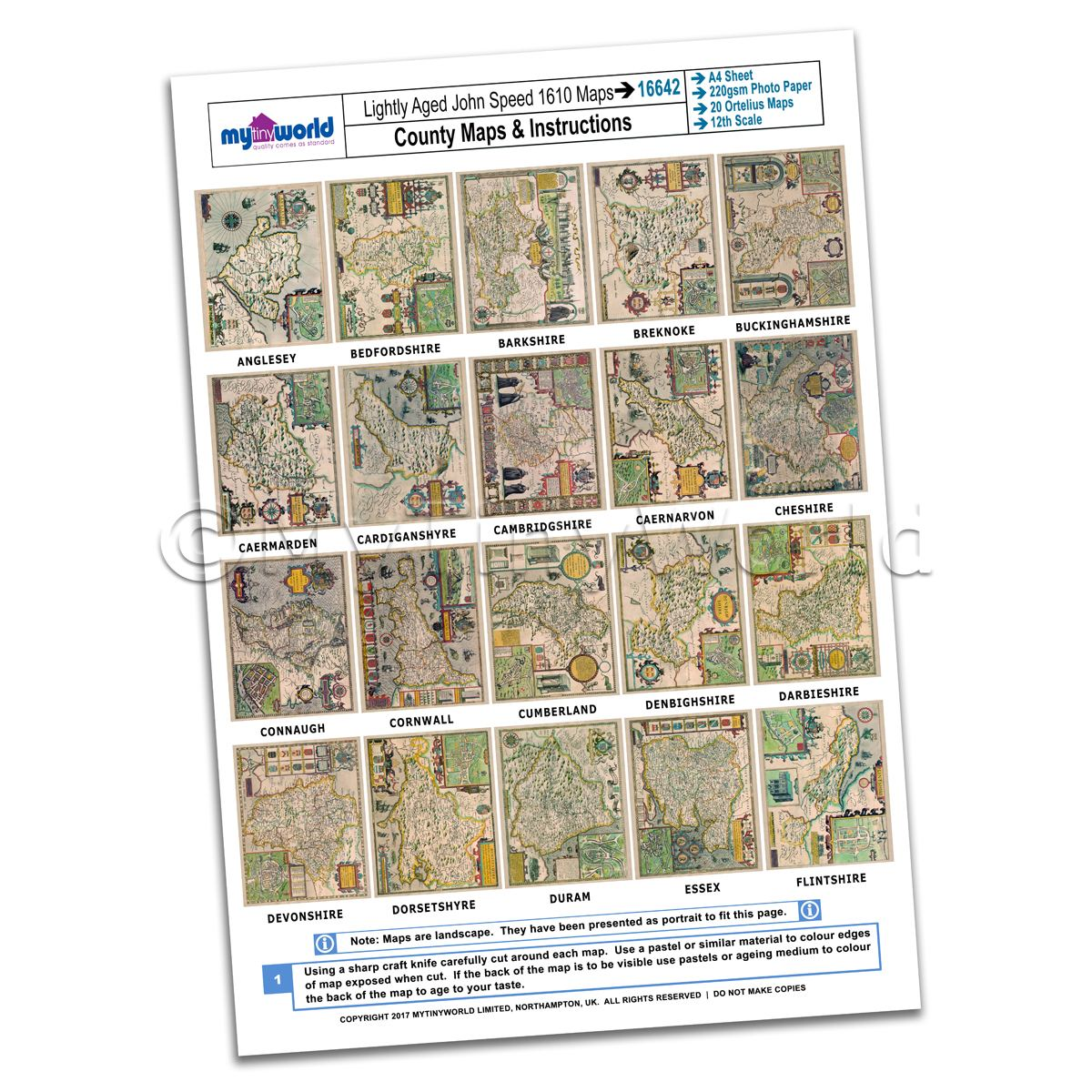 Dolls House 20 John Speed UK County Maps A4 Value Sheet 1