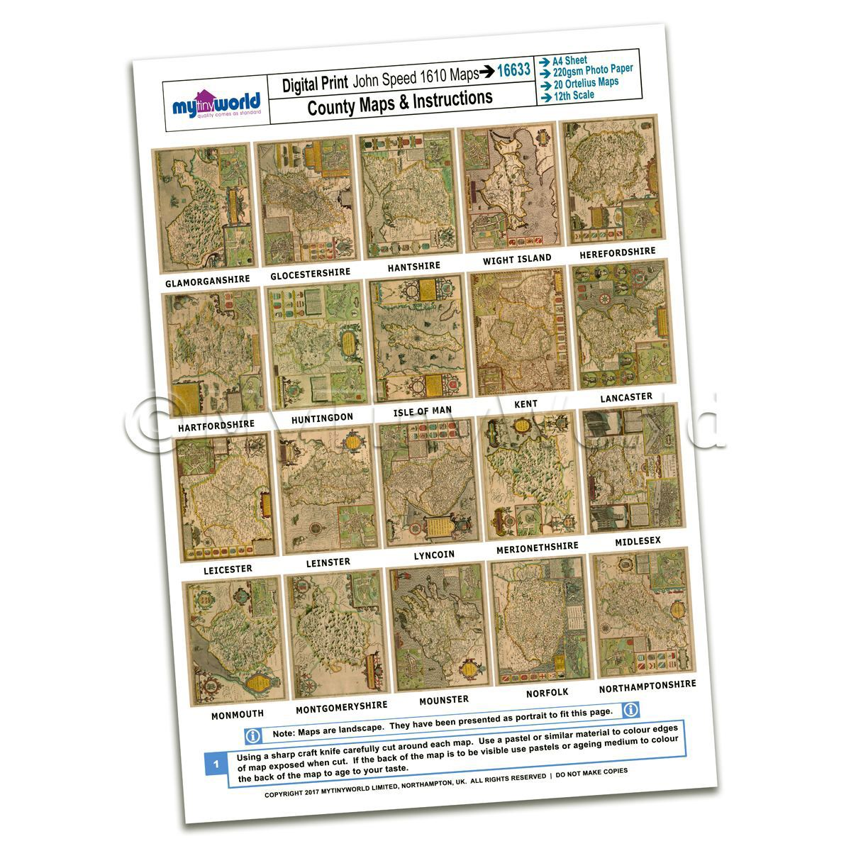 Dolls House 20 Aged John Speed UK County Maps A4 Value Sheet 2