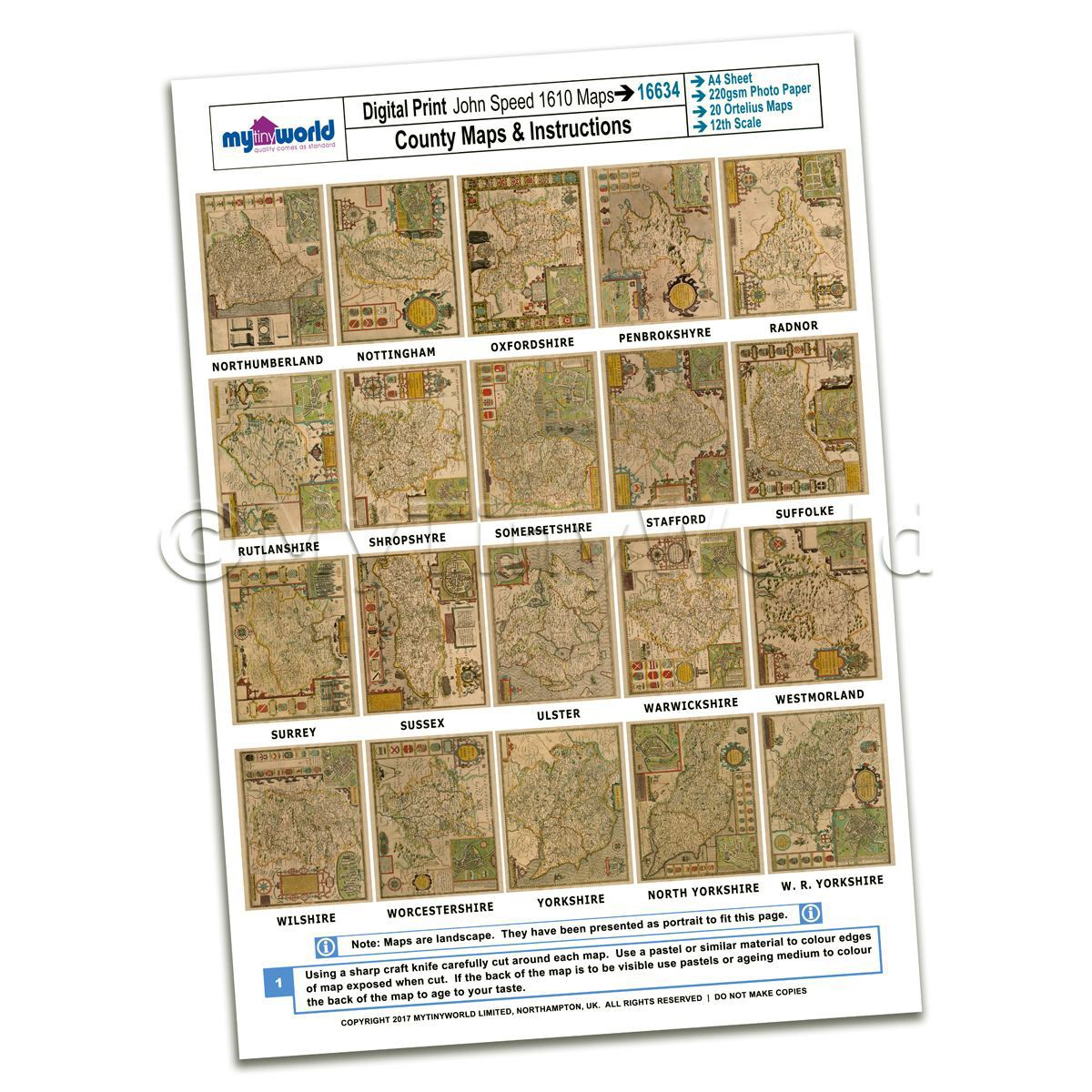 Dolls House 20 Aged John Speed UK County Maps A4 Value Sheet 3
