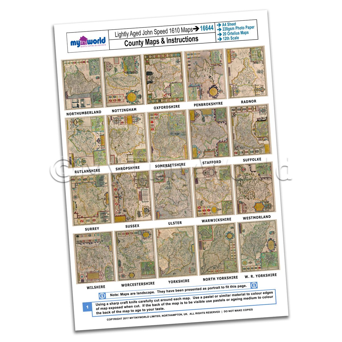 Dolls House 20 John Speed UK County Maps A4 Value Sheet 3