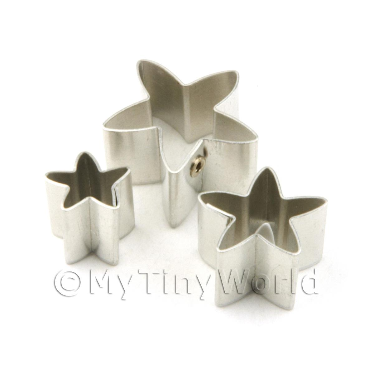 Set of 3 Assorted Size Metal Star Sugar Craft Cutters