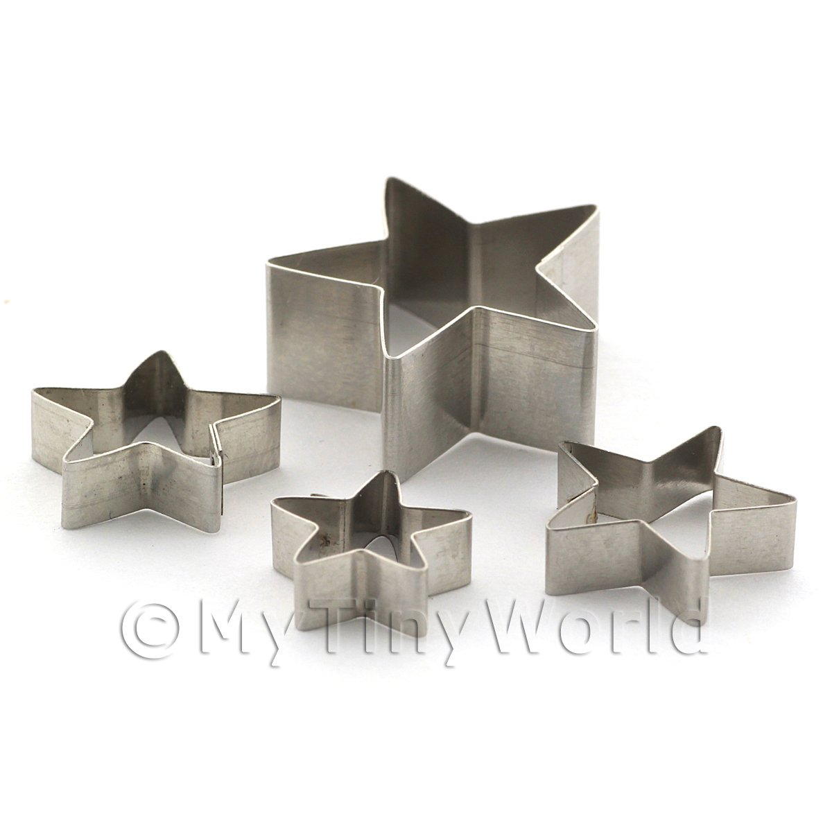 Set of 4 Different Sized Star Shaped Sugarcraft / Clay Cutters