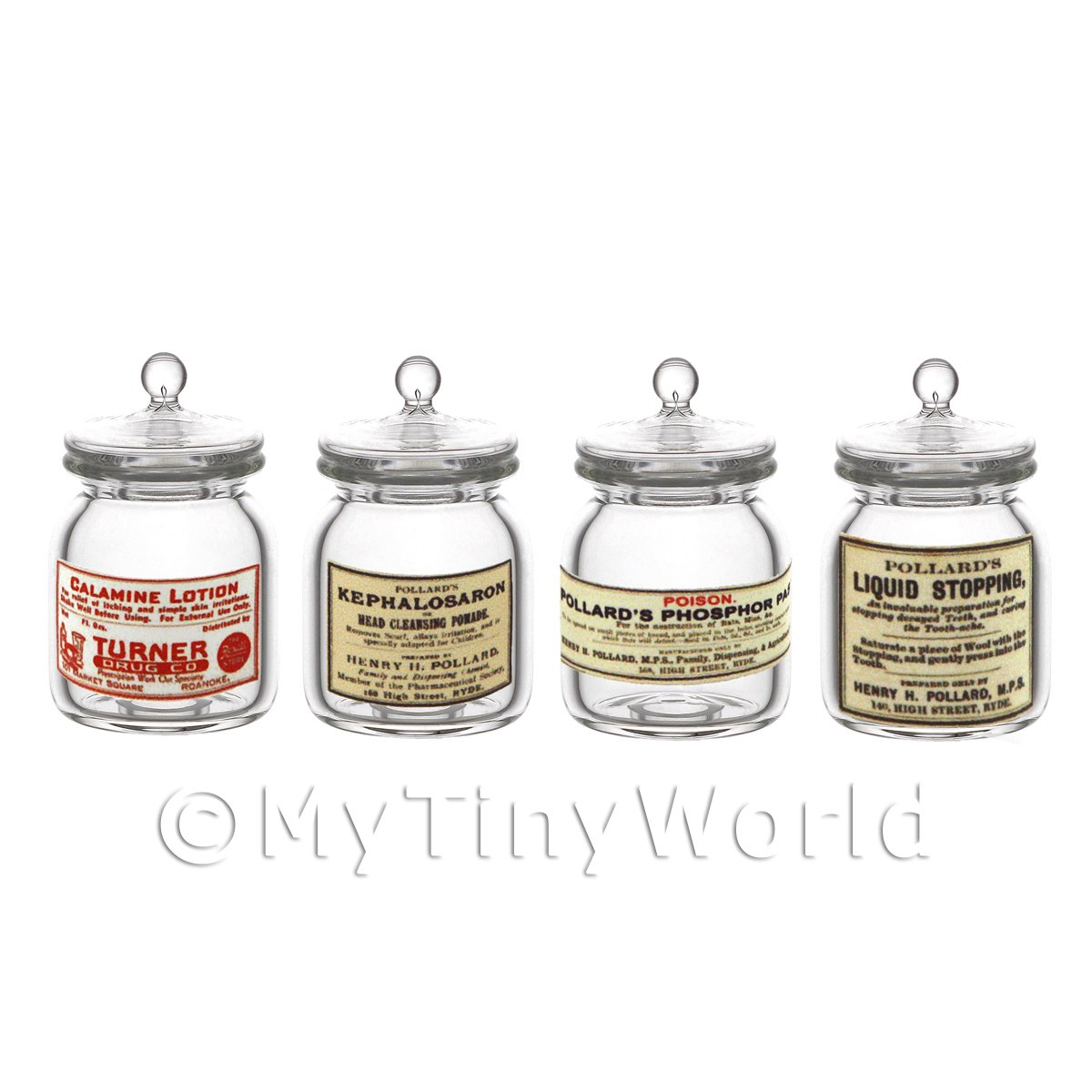 Set of 4 Miniature Glass Apothecary Storage Jar