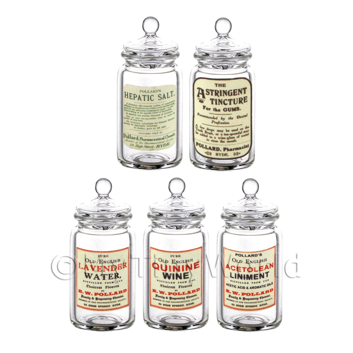 Set of 5 Miniature Glass Apothecary Storage Jar