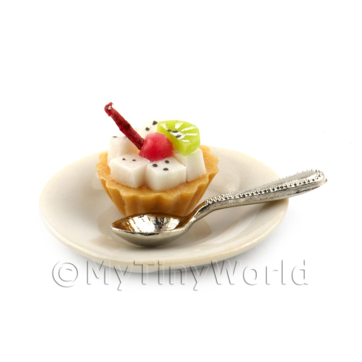 Dolls House Miniature Very Berry Tart on a plate with a spoon
