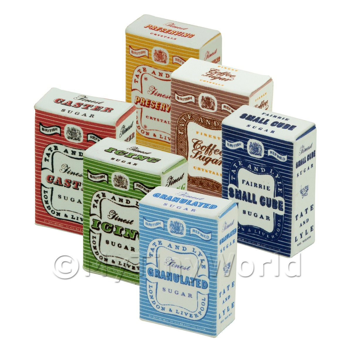 6 Dolls House Miniature Tate and Lyle Sugar Boxes
