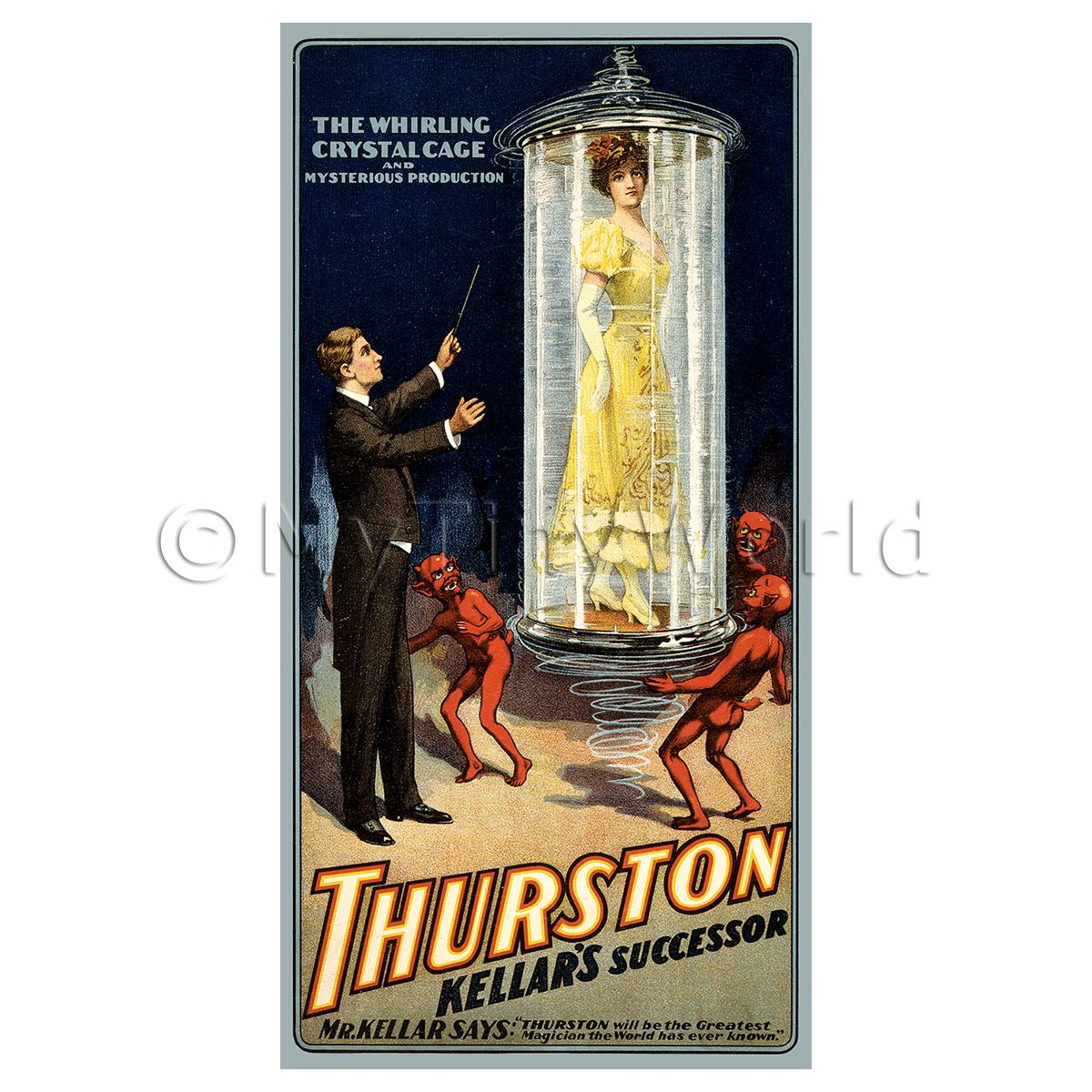 Dolls House Miniature Thurston Magic Poster - Crystal Cage