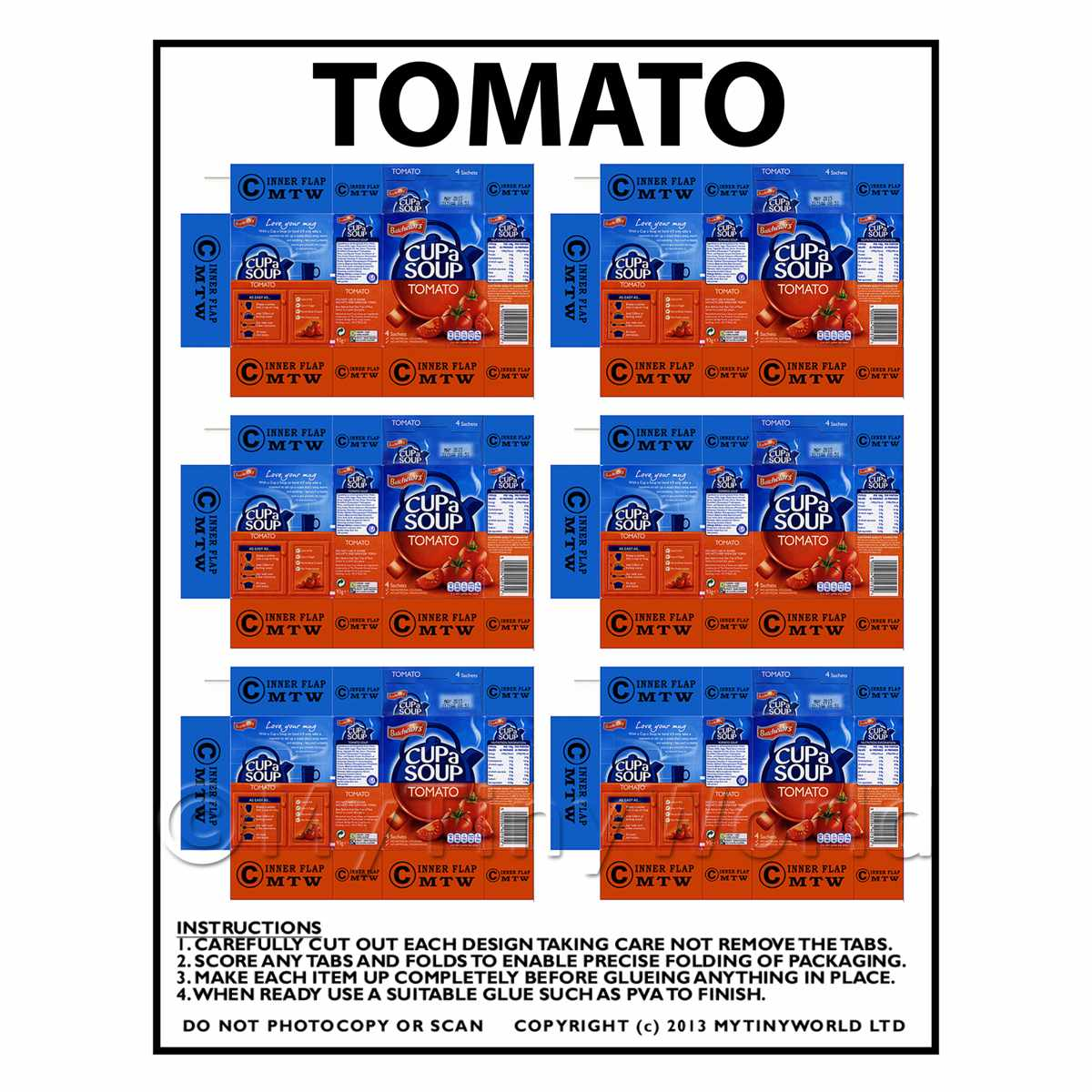 Dolls House Miniature Packaging Sheet of 6 Tomato Cup a Soup