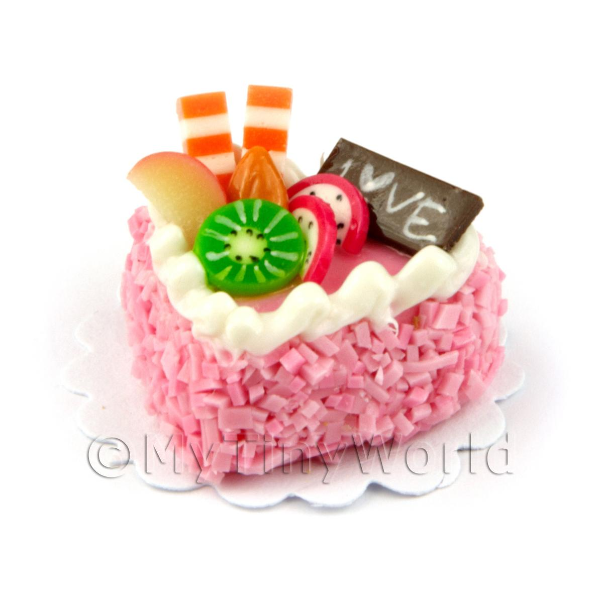 Dolls House Miniature 22mm Pink Iced Heart Cake