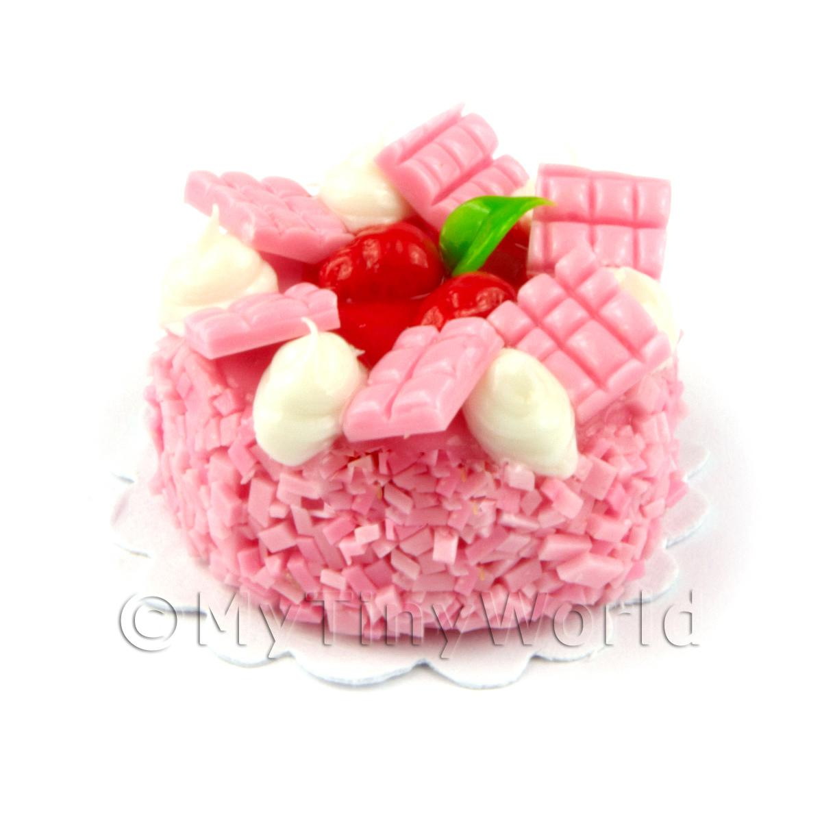 Dolls House Handmade Tiny 25mm Pink Iced Strawberry Cake
