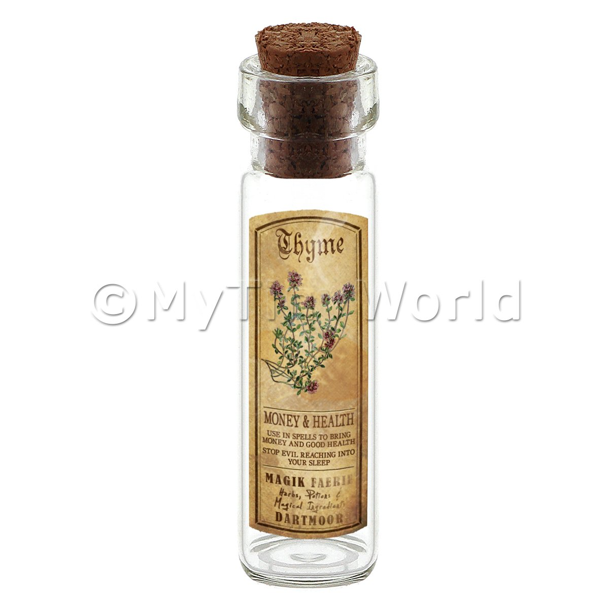 Dolls House Apothecary Thyme Herb Long Colour Label And Bottle