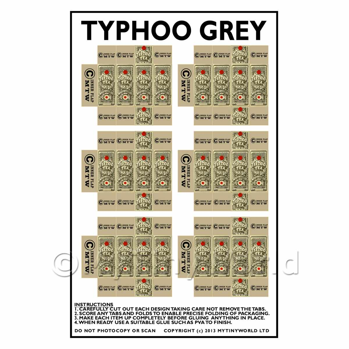 Dolls House Miniature Packaging Sheet of 6 Typhoo Grey
