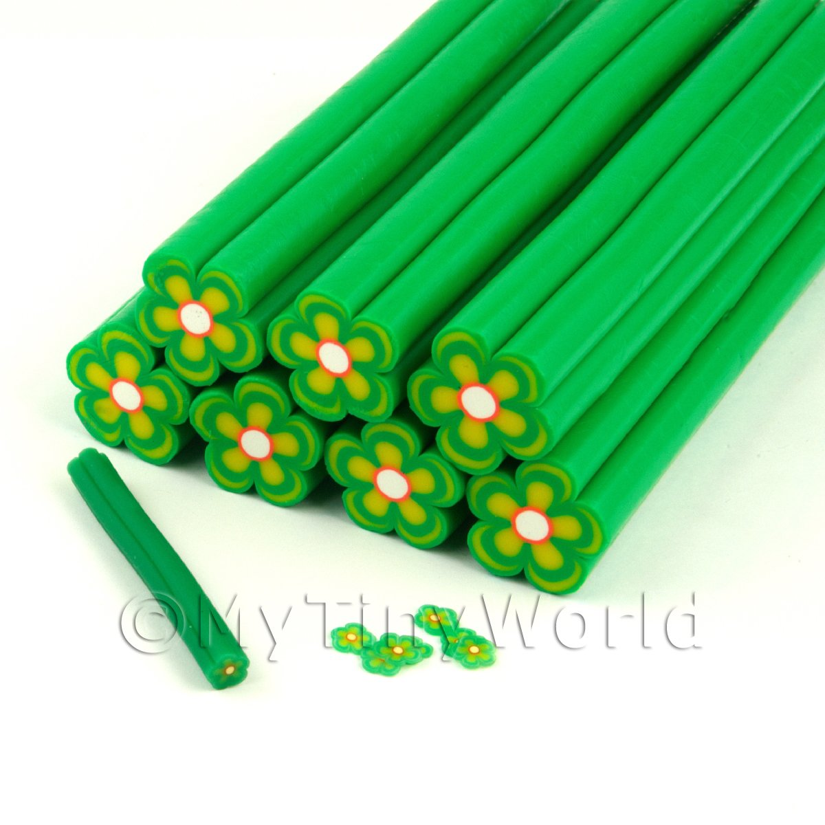 Unbaked Green Flower Cane Nail Art And Jewellery UNC08