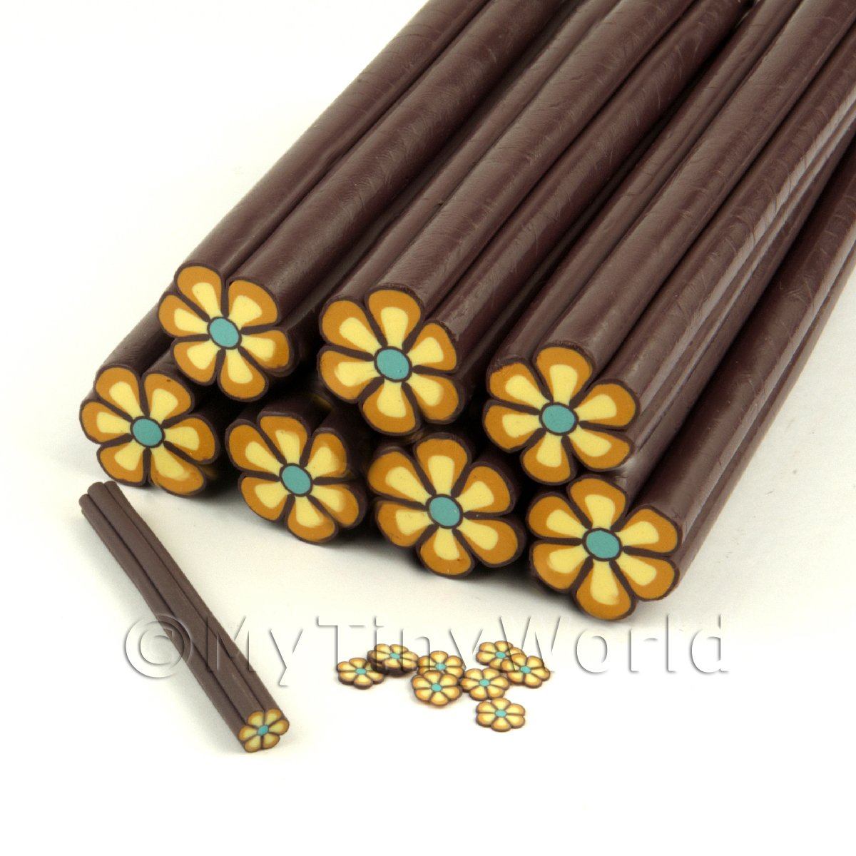 Unbaked Brown Flower Cane Nail Art And Jewellery UNC12