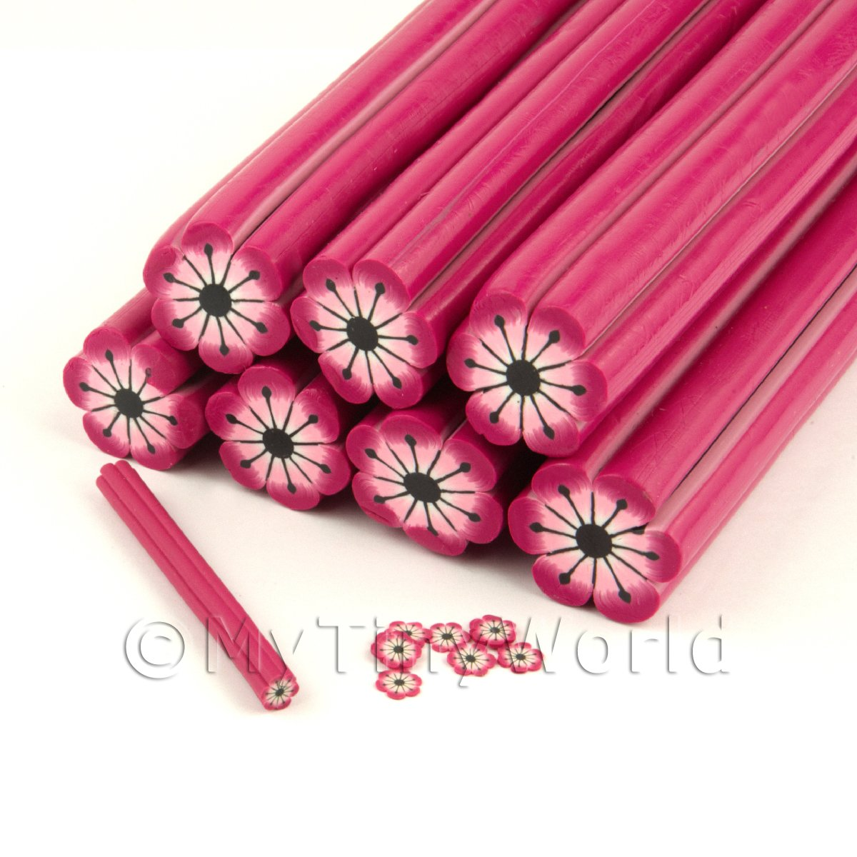 Unbaked Pink Flower Cane Nail Art And Jewellery UNC16