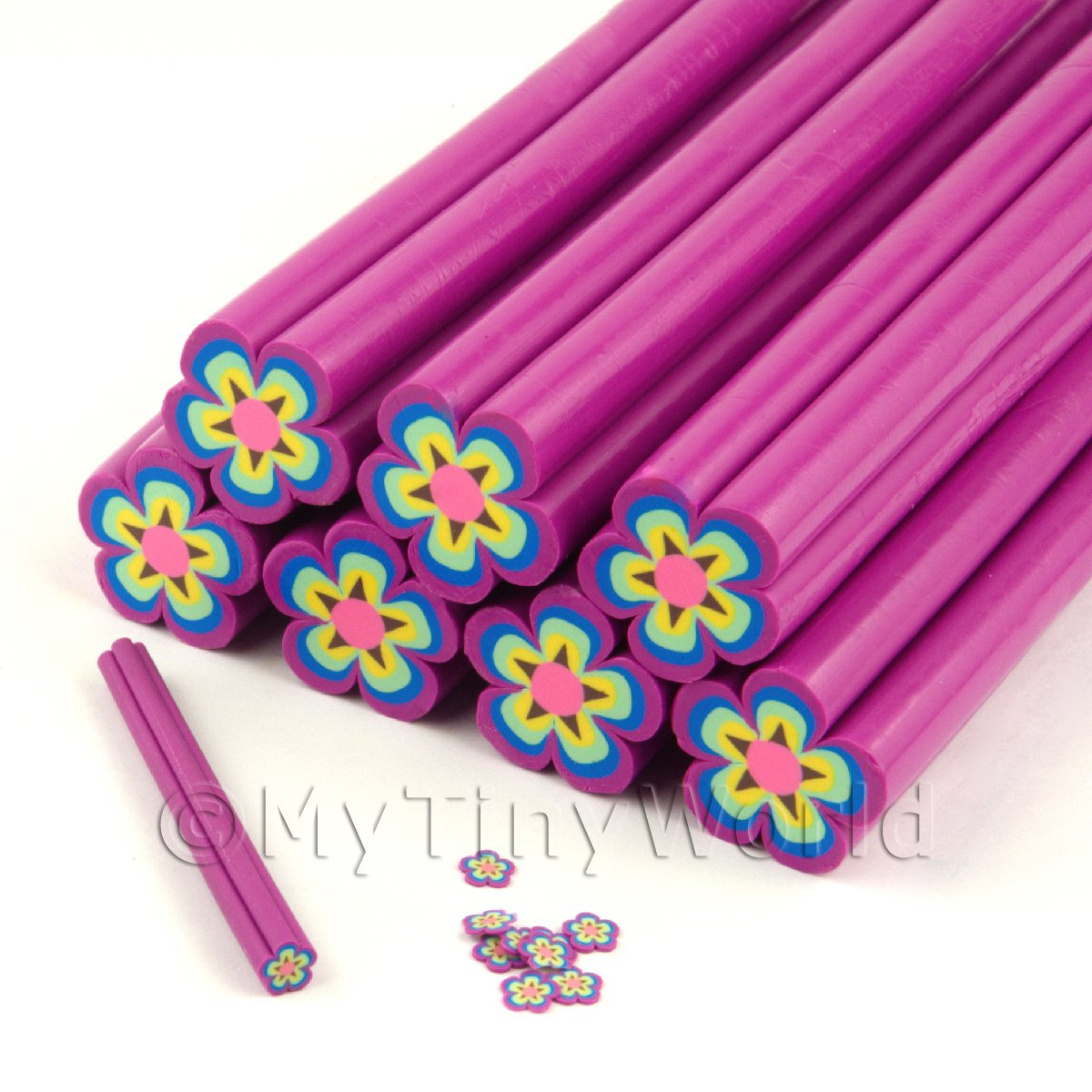 Unbaked PurpleFlower Cane Nail Art And Jewellery UNC17