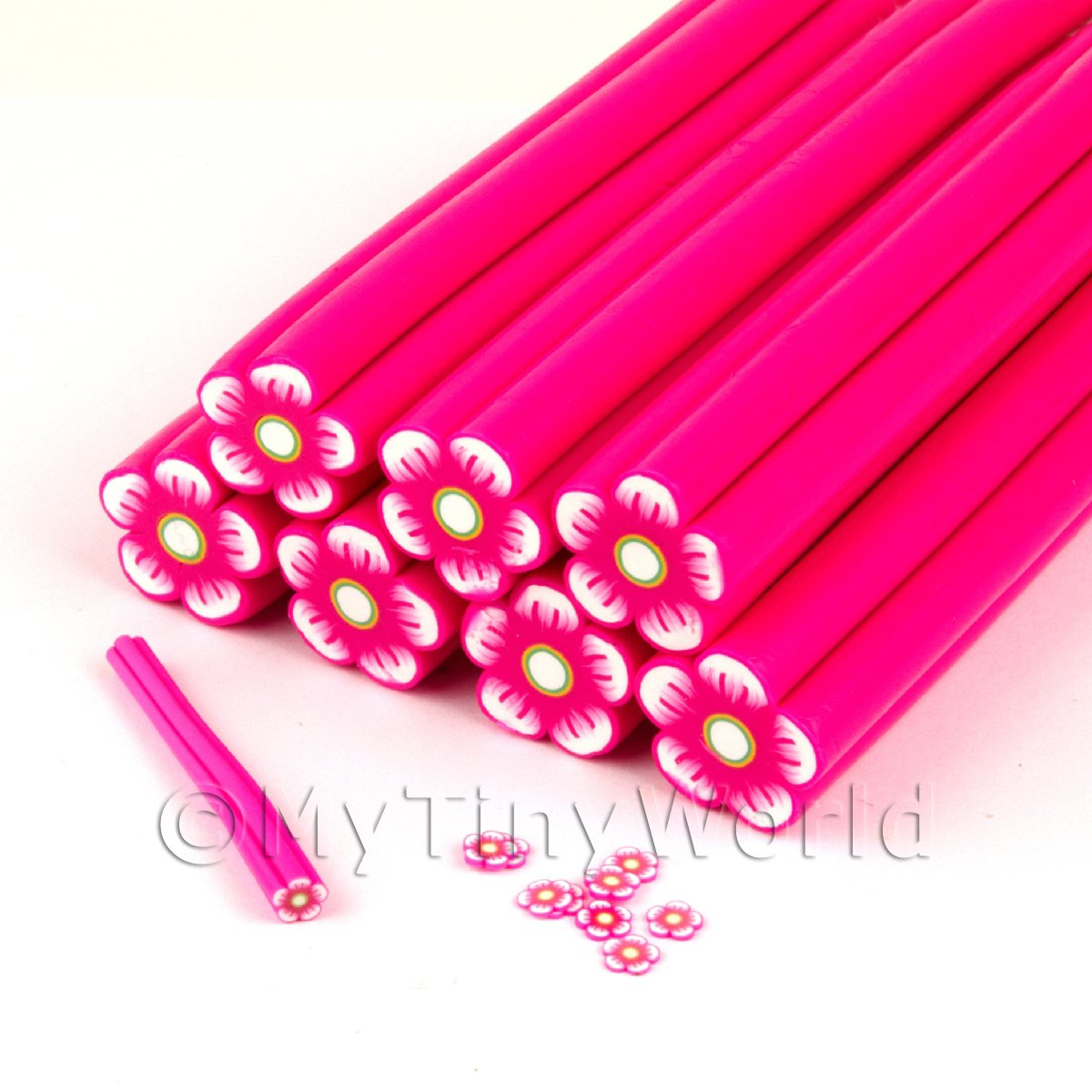 Unbaked Pink Flower Cane Nail Art And Jewellery UNC20