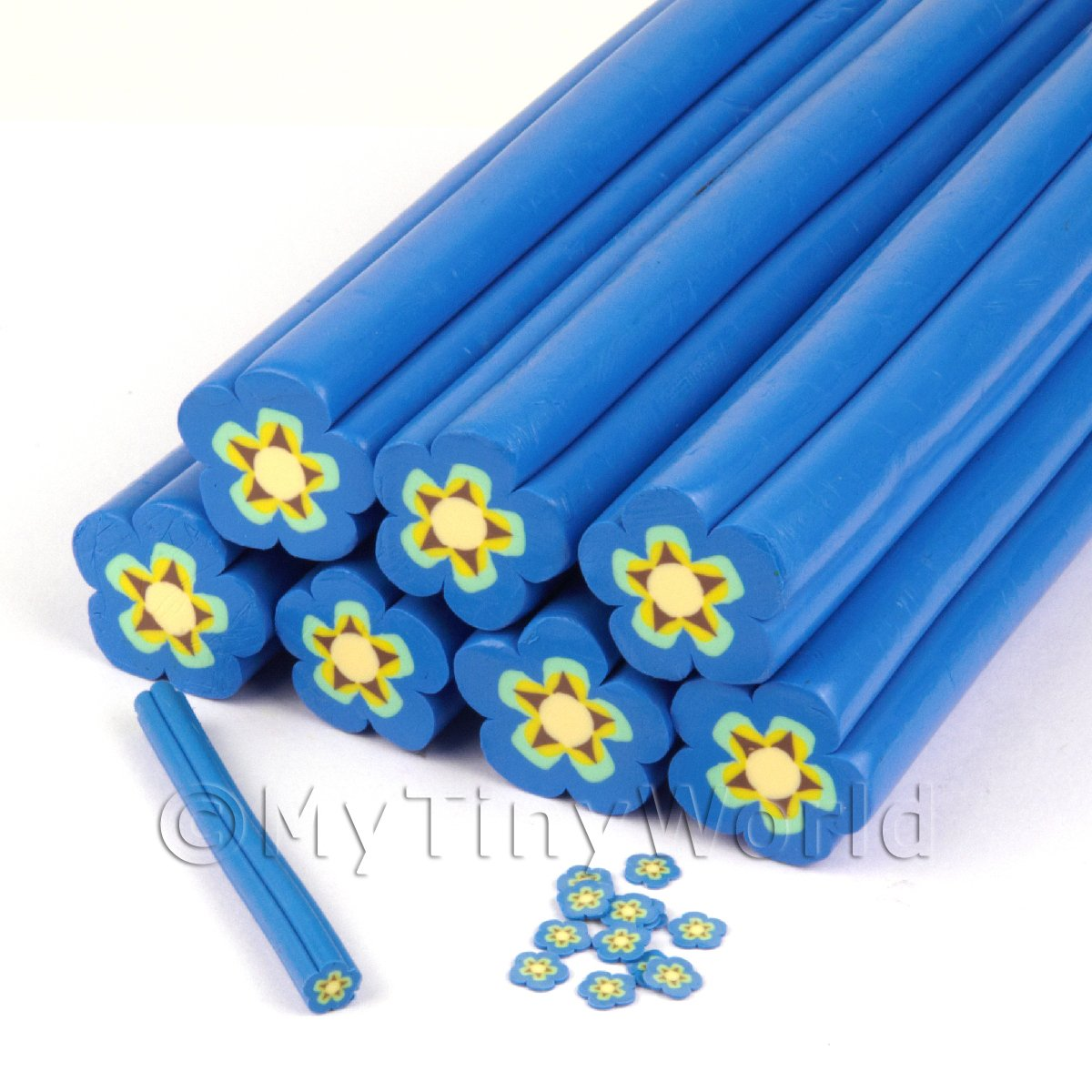 Unbaked Blue Flower Cane Nail Art And Jewellery UNC21