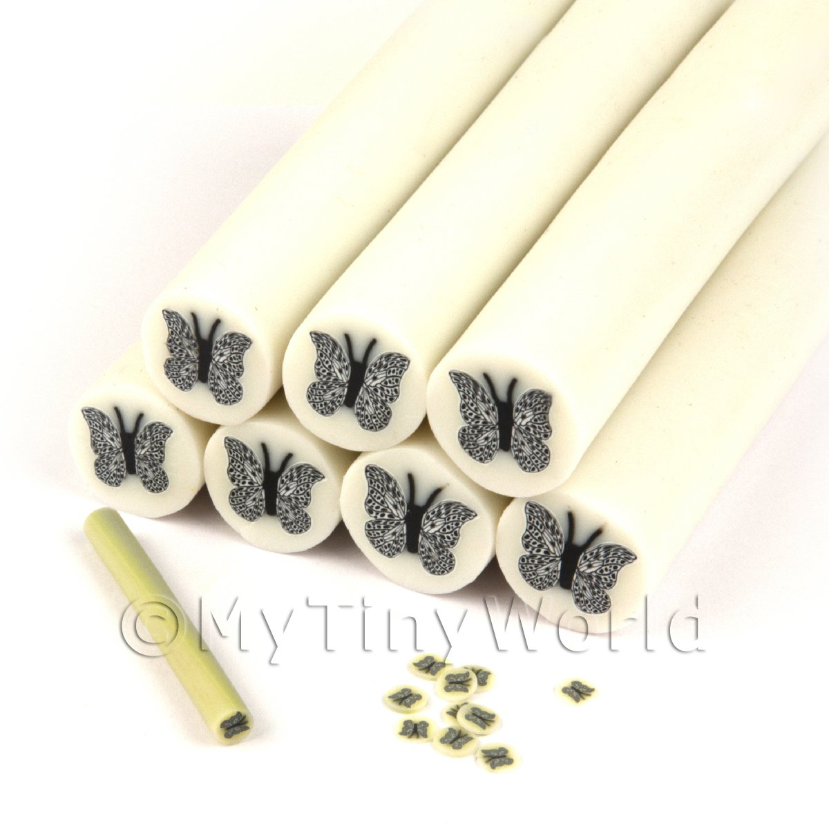 Unbaked Silver Moth Cane Nail Art And Jewellery UNC25
