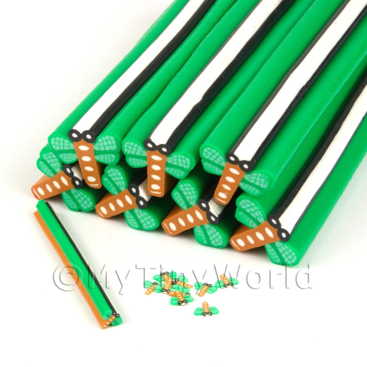 Unbaked Green Dragonfly Cane Nail Art And Jewellery UNC27