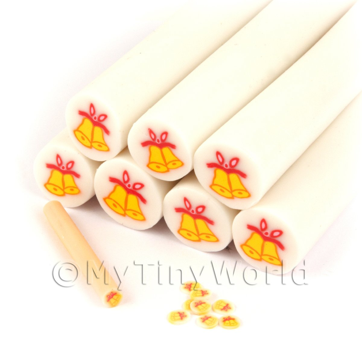 Unbaked Christmas Bells Cane Nail Art And Jewellery UNC50