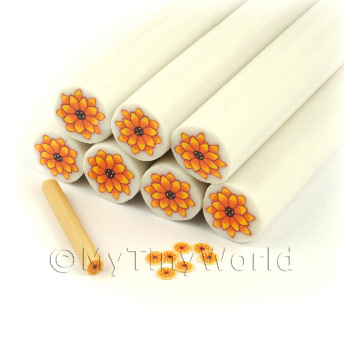 Unbaked Orange Flower Cane Nail Art And Jewellery UNC51