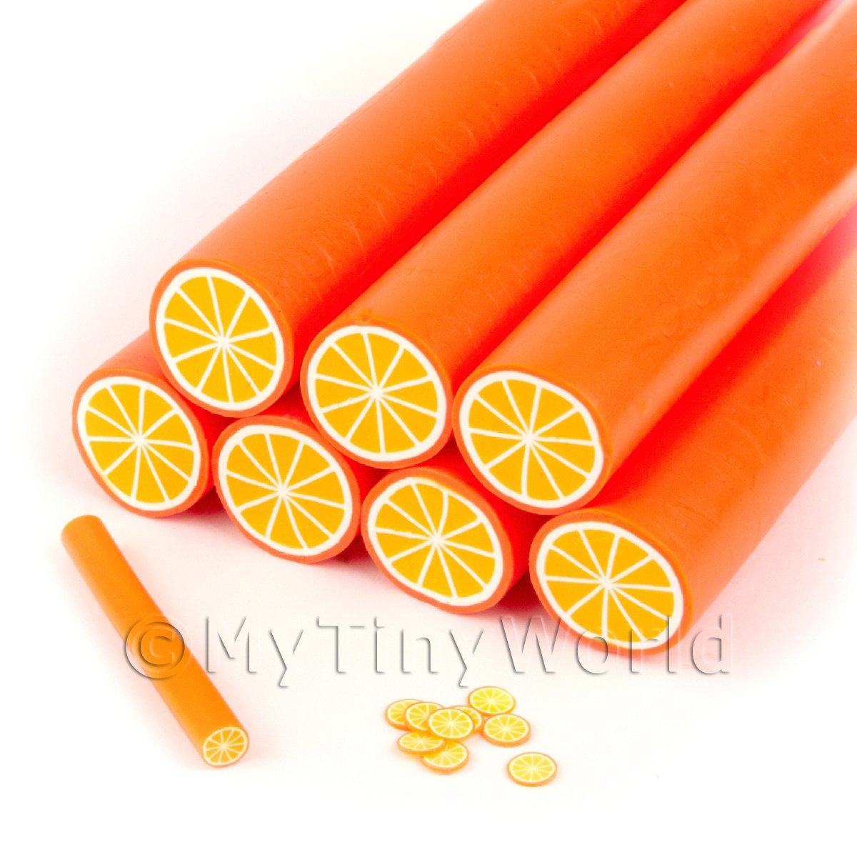 Unbaked Orange Cane Nail Art And Jewellery UNC59